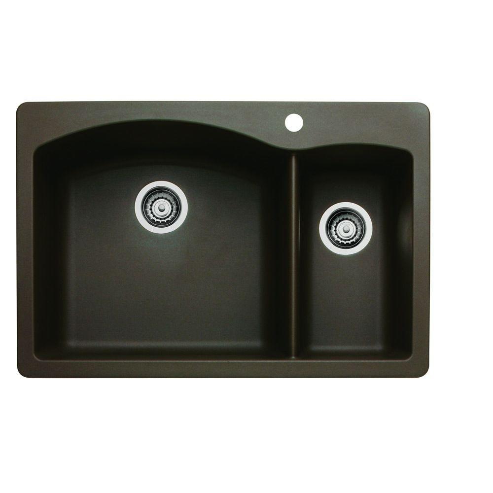blanco diamond sink. Blanco Diamond Dual-Mount Granite Composite 33 In. 1-Hole Double Bowl Kitchen Sink S