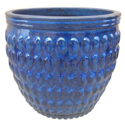 Trendspot 18 in. Dia Ceramic Barossa Planter with Attached Saucer, Blue