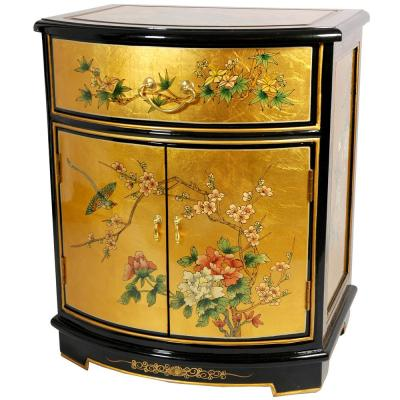 Oriental Furniture Gold Leaf Round Front Shoe Cabinet