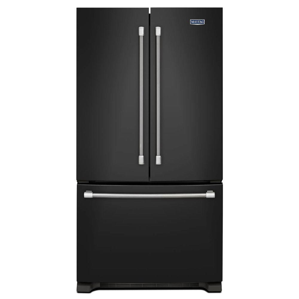 Maytag 33 in. W 22.1 cu. ft. French Door Refrigerator in Black with Stainless Steel Handles