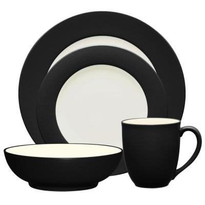 Colorwave Rim 4-Piece Casual Graphite Stoneware Dinnerware Set (Service for 1)