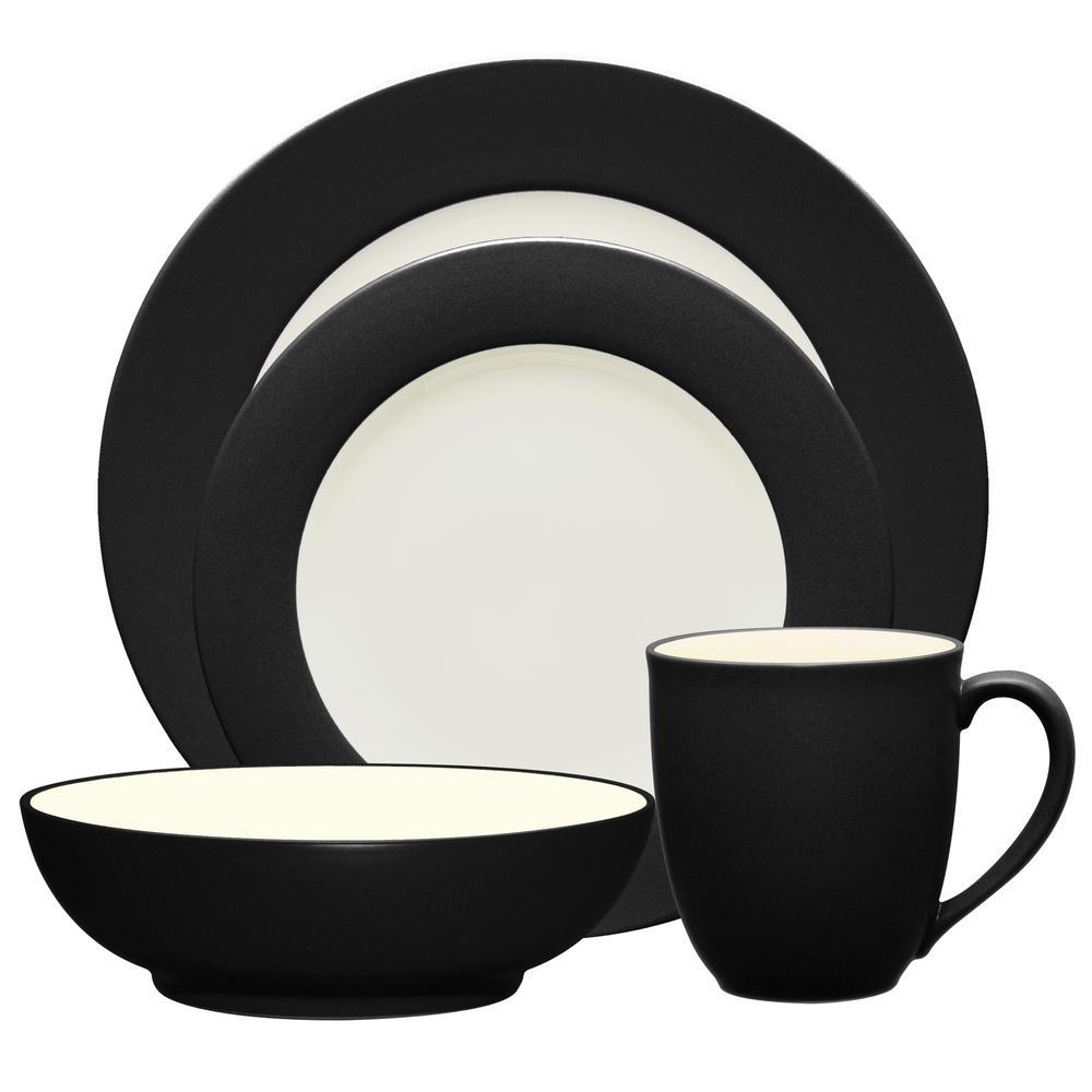Colorwave Rim 4-Piece Casual Graphite Stoneware Dinnerware Set (Service for 1)