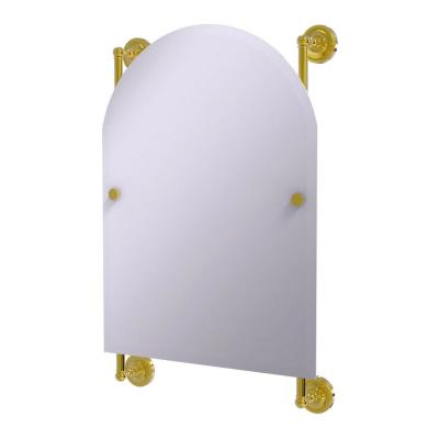 Prestige Regal 21 in. x 29 in. Single Arched Top Frameless Rail Mounted Mirror in Polished Brass