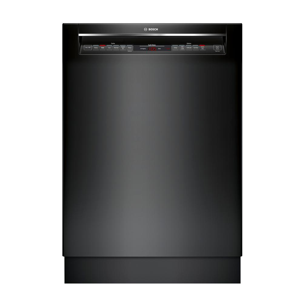 Bosch 800 Series Front Control Tall Tub Dishwasher in Black with Stainless Steel Tub and EasyGlide Rack System, 42dBA