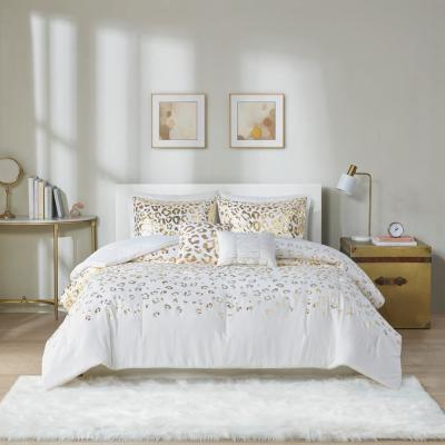 Serena 5-Piece Ivory/Gold Full/Queen Soft Brushed Microfiber Metallic Printed Comforter Set