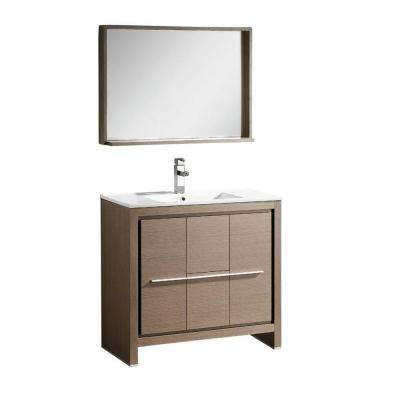Allier 36 in. Vanity in Gray Oak with Ceramic Vanity Top in White with White Basin and Mirror