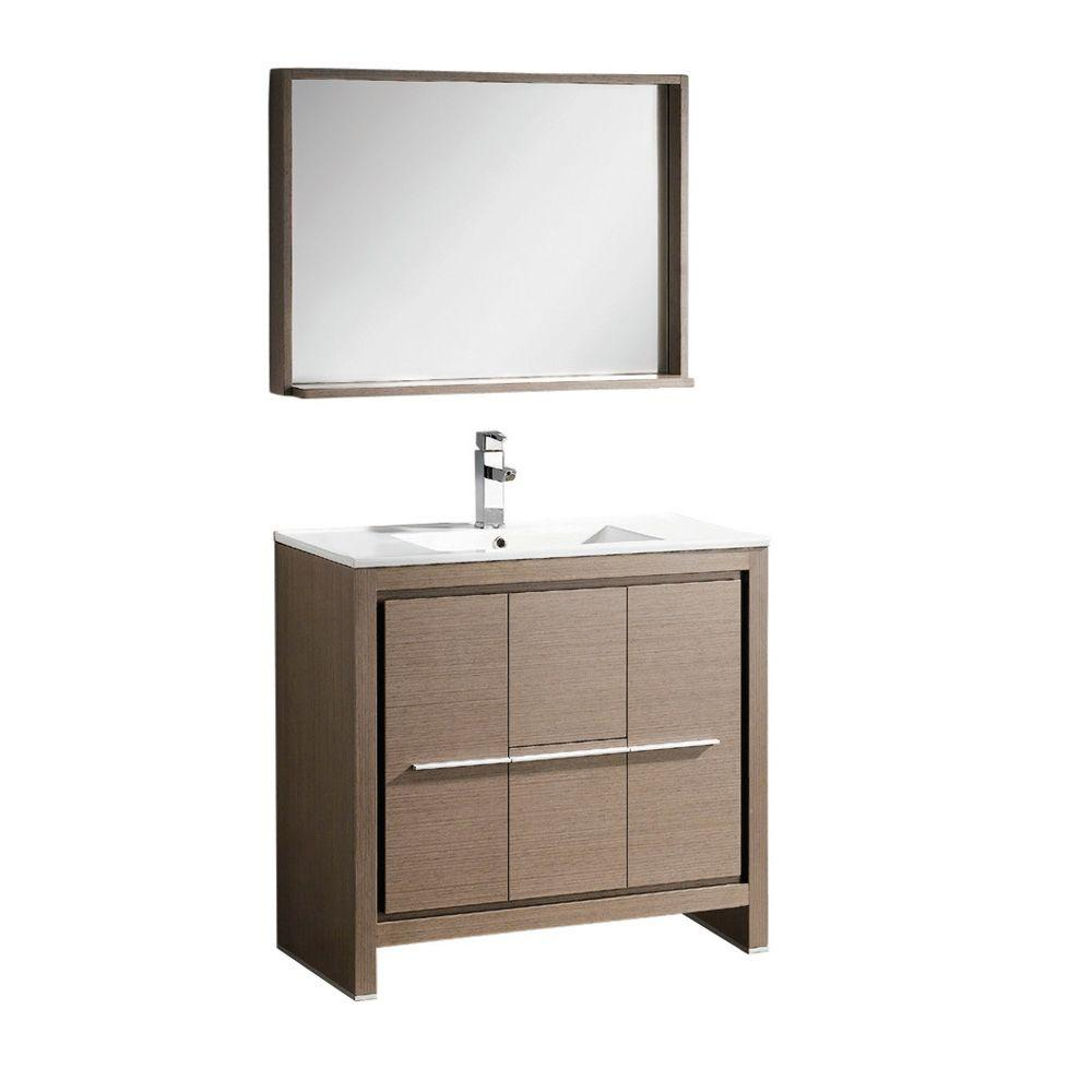 Fresca Allier 36 In Vanity In Gray Oak With Ceramic Vanity Top In