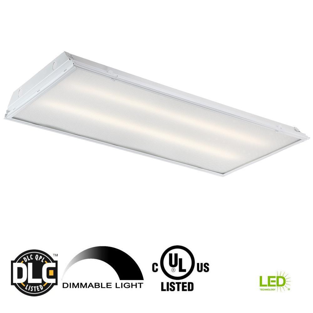 2 ft. x 4 ft. 128-Watt Equivalent White Prismatic Lens Integrated LED Commercial Grid Ceiling Troffer