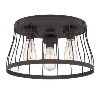 Brooklyn 3-Light Bronze Flush Mount
