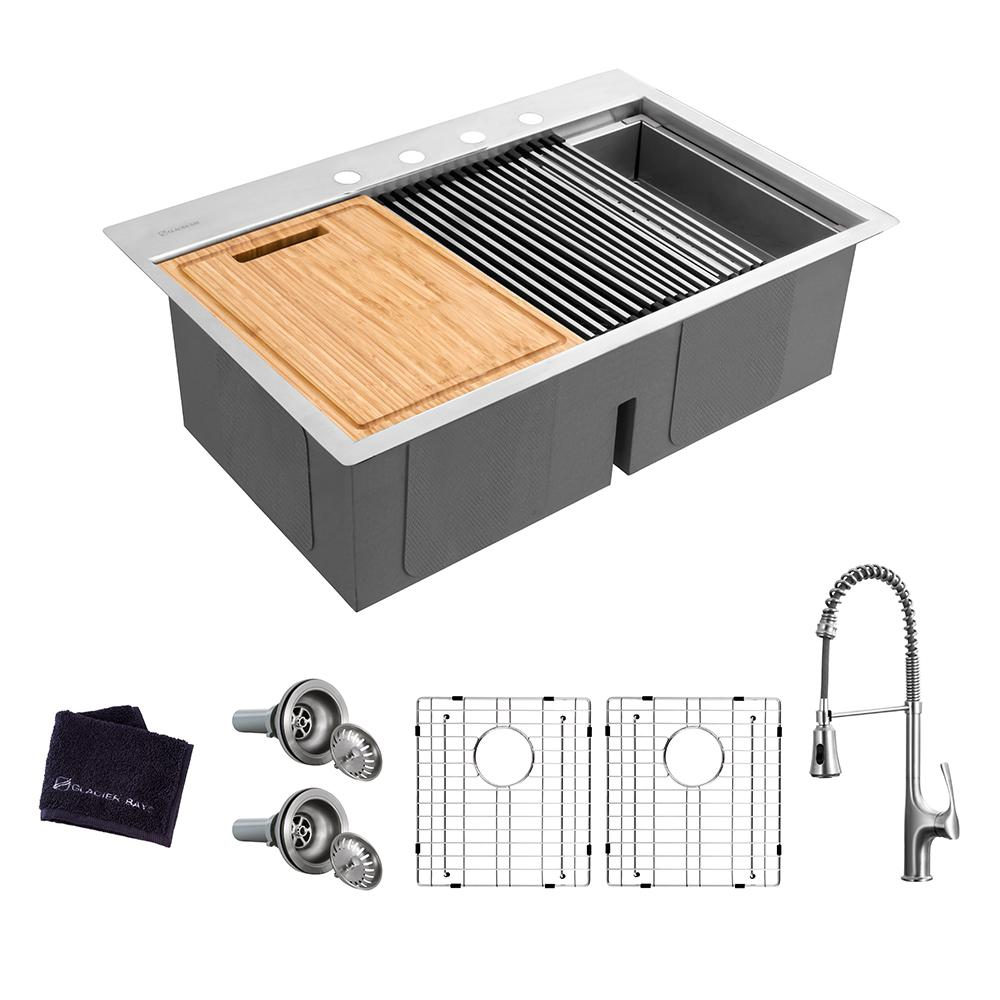 Glacier Bay All-in-One Drop-In Stainless Steel 33 in. 4-Hole 50/50 Double Bowl Workstation Sink with Faucet and Accessories Kit