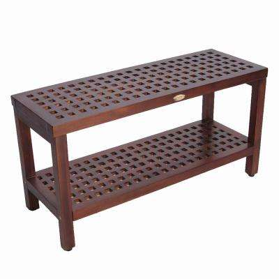 Espalier 35 in. Lattice Teak Shower Bench with Shelf