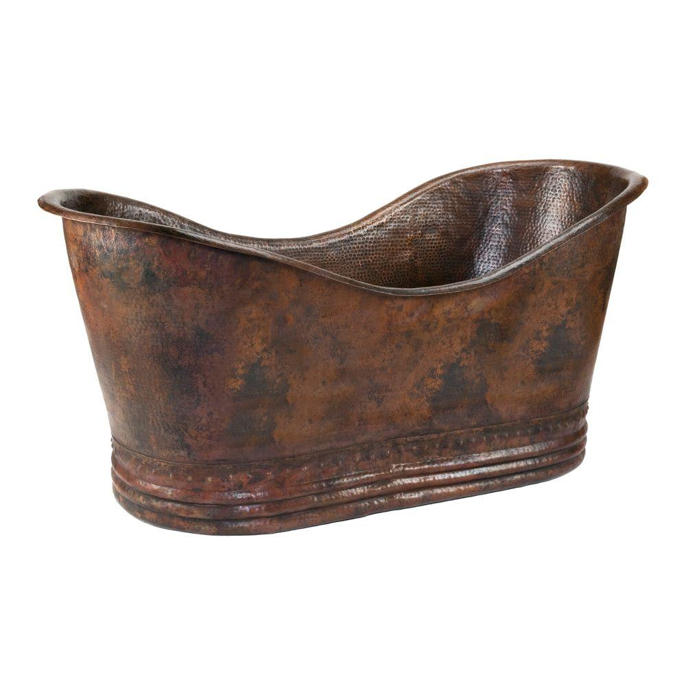 Premier Copper Products 5.58 Ft. Hammered Copper Double Slipper Flatbottom  Non Whirlpool Bathtub In