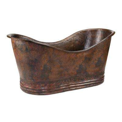 5.58 ft. Hammered Copper Double Slipper Flatbottom Non-Whirlpool Bathtub in Oil Rubbed Bronze