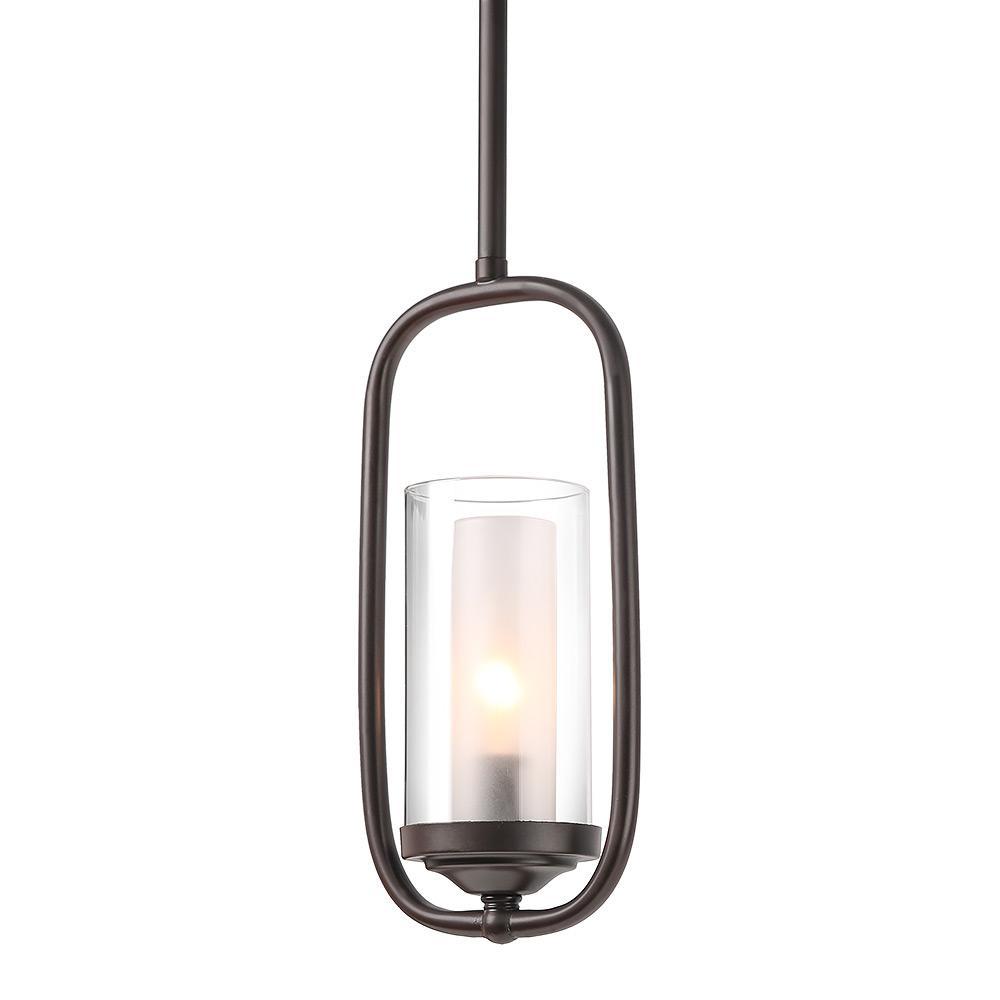 1-Light Bronze Cylinder Transitional Pendant Light