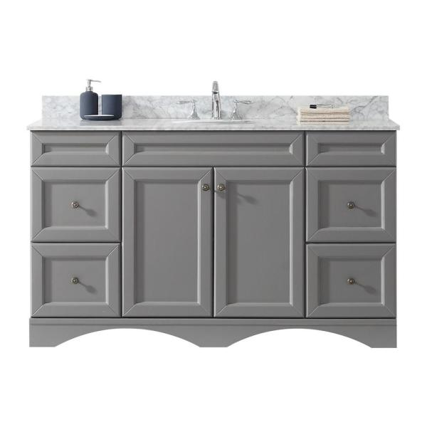 Talisa 60 in. W Single Bath Vanity in Grey with Marble Vanity Top and Round Basin