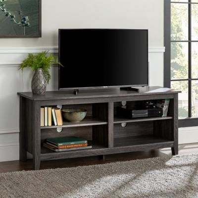 Columbus 58 in. Charcoal MDF TV Stand 60 in. with Adjustable Shelves