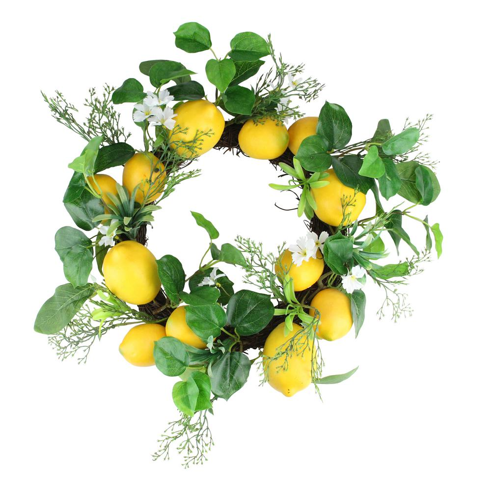 Northlight 20 in. Yellow and White Lemon and Flower Foliage Wreath