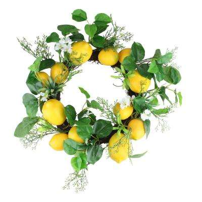 20 in. Yellow and White Lemon and Flower Foliage Wreath