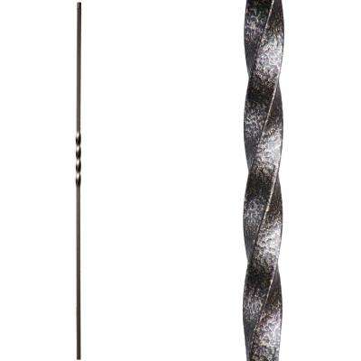 Twist and Basket 44 in. x 0.5 in. Copper Vein Single Twist Hollow Wrought Iron Baluster