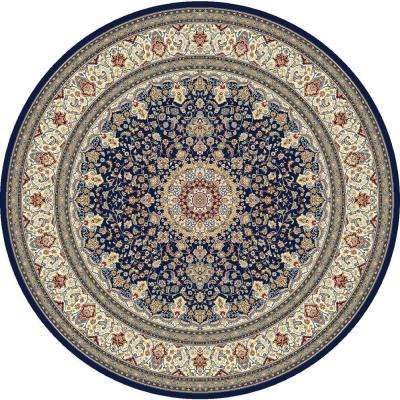 Nicholson Blue/Ivory 8 ft. x 8 ft. Round Indoor Area Rug