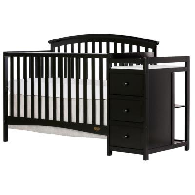 Niko Black 5-In-1 Convertible Crib with Changer