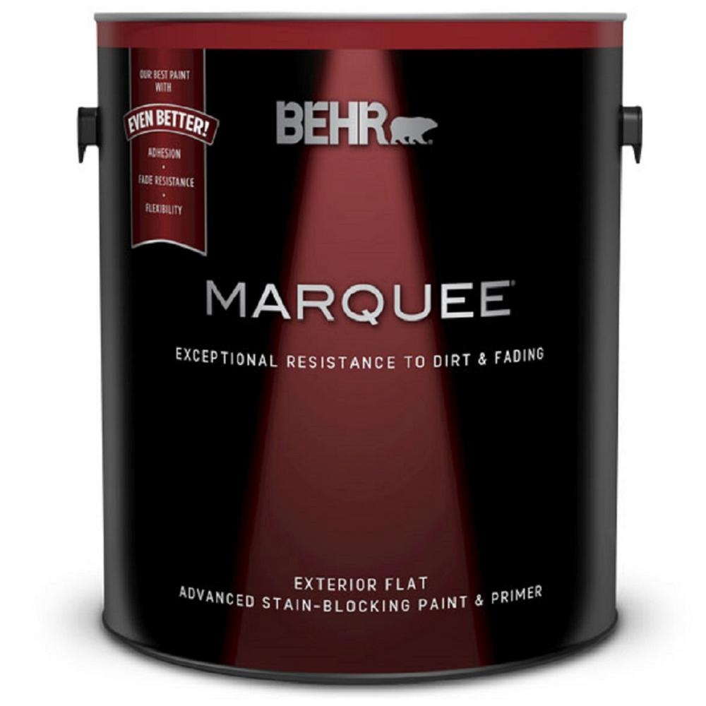 Behr marquee 1 gal ultra pure white flat exterior paint and primer in one 445001 the home depot for Best exterior paint and primer in one