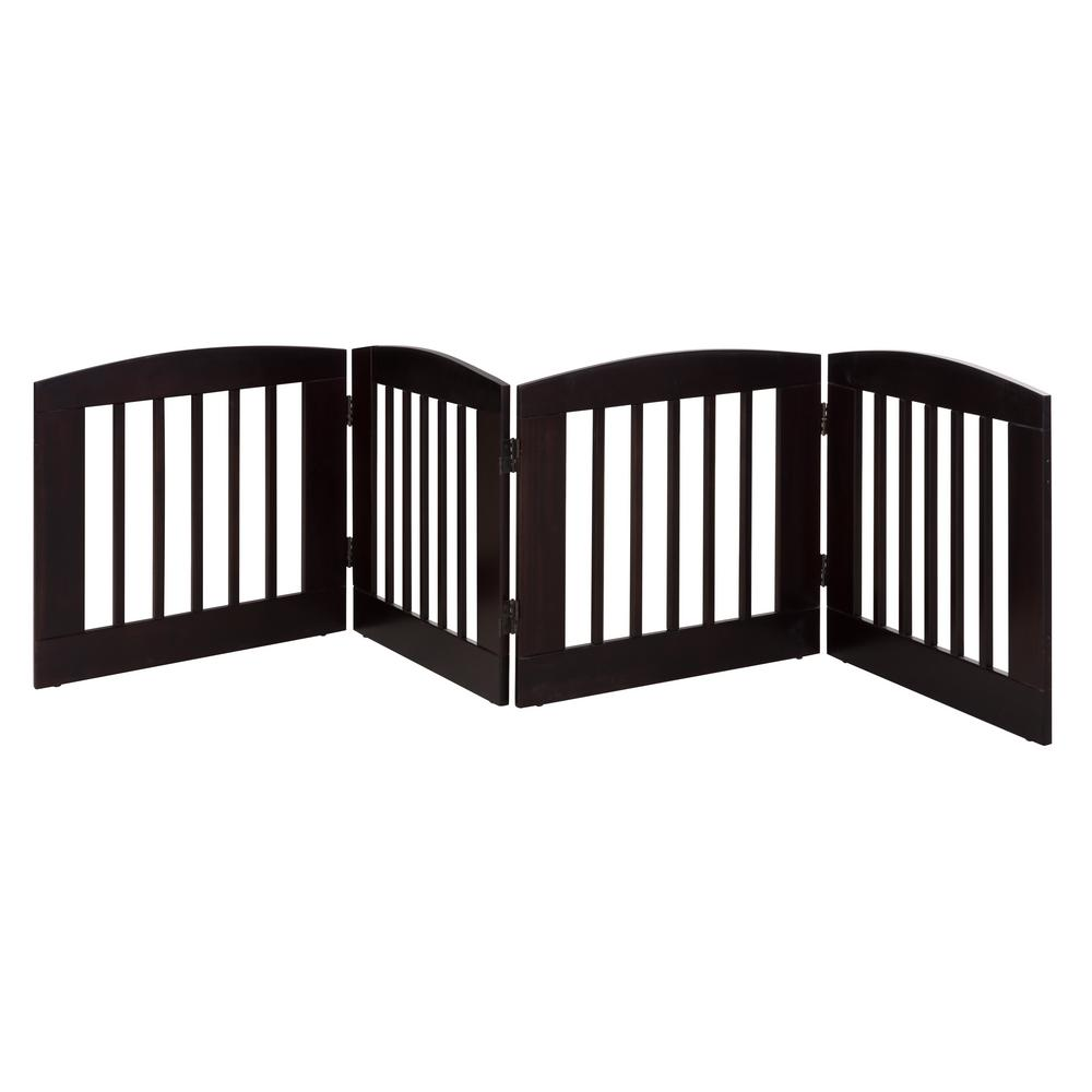 Ruffluv 24 in. H Wood 4-Panel Expansion Cappuccino Pet Gate