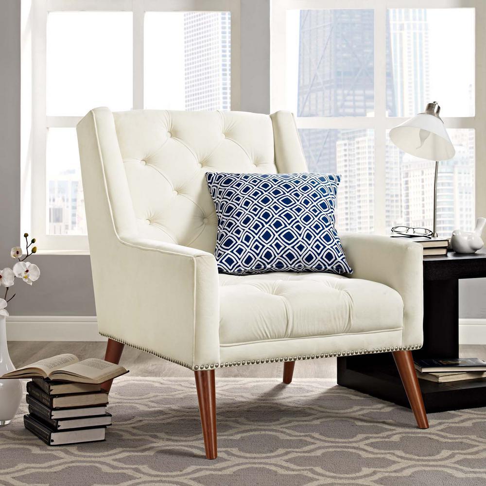 Peruse Ivory Velvet Armchair