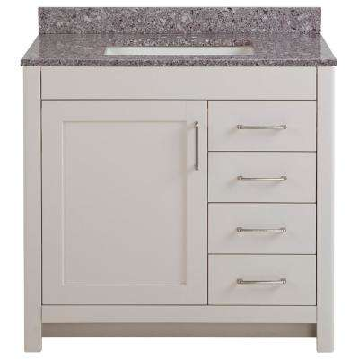 Westcourt 37 in. W x 22 in. D Bath Vanity in Cream with Stone Effect Vanity Top in Mineral Gray with White Sink