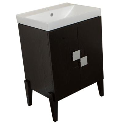 Mattawa 25 in. W x 18.3 in. D Single Vanity in Black with Vitreous China Vanity Top in White with White Basin