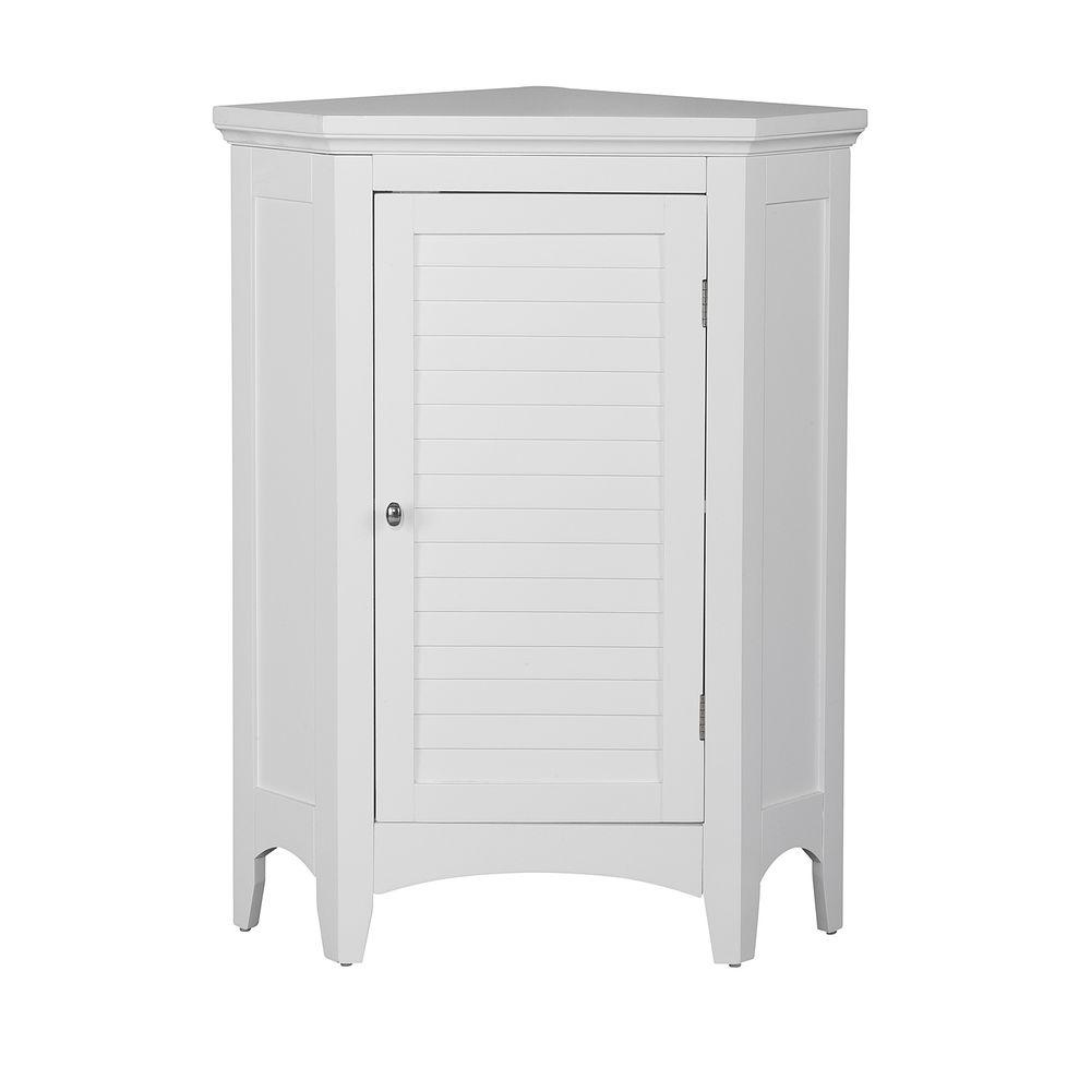 Fabulous Elegant Home Fashions Simon 24 3 4 In W X 17 In D X 32 In H Corner Bathroom Linen Storage Floor Cabinet With Shutter Door In White Home Interior And Landscaping Ologienasavecom