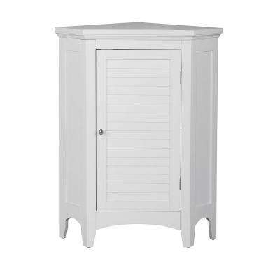 Simon 24-3/4 in. W x 17 in. D x 32 in. H Corner Bathroom Linen Storage Floor Cabinet with Shutter Door in White