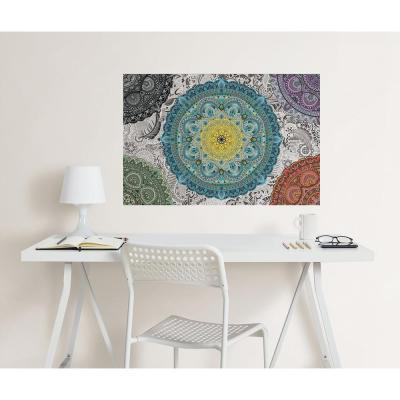 24 in. x 36 in. Shangri-La Mandala Coloring Wall Decal
