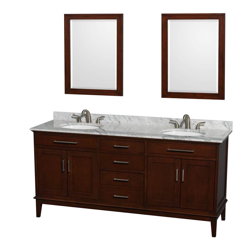 Double Vanity Dark Chestnut Marble Vanity Top White Sink Mirrors
