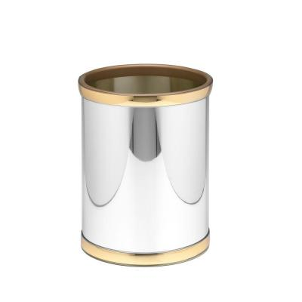 Mylar 8 Qt. Polished Chrome and Brass Round Waste Basket