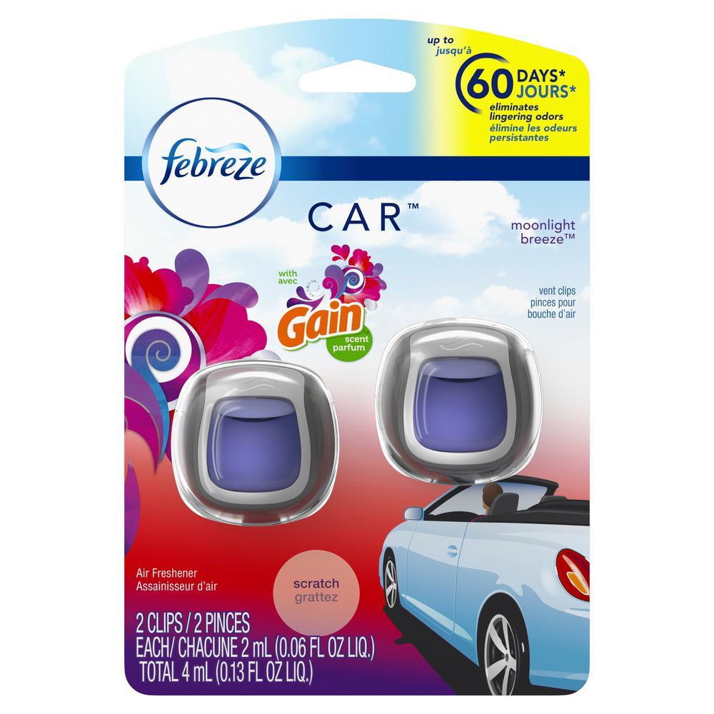 0.13 oz Moonlight Breeze Scent Car Air Freshener Vent Clips (2 Count)
