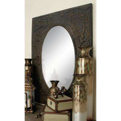 Oval Antique Brown Scroll Design Wall Mirror