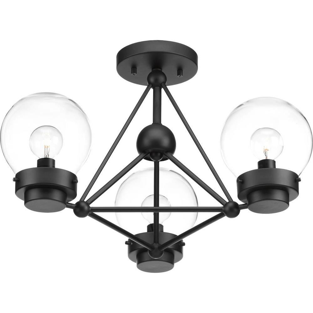 Spatial Collection 3-Light Black Semi-Flush Mount