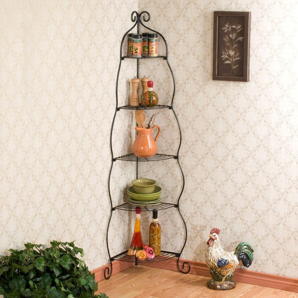 Southern Enterprises 22.75 in. Scrolled 5-Shelf Corner Etagere in Black