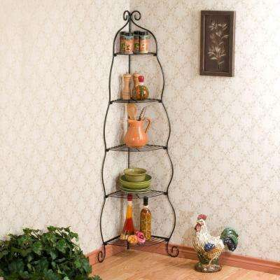 22.75 in. Scrolled 5-Shelf Corner Etagere in Black