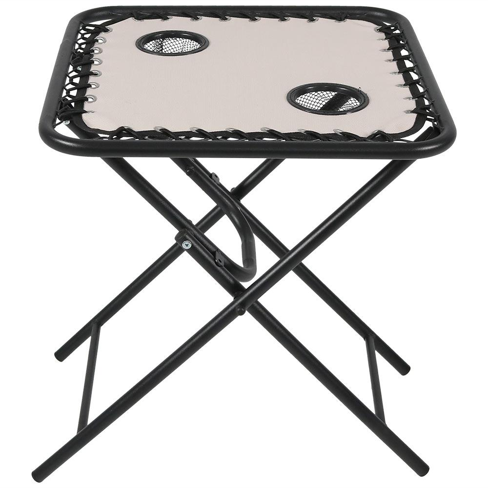 Beige Outdoor Folding Sling Side Table With Drink Holders