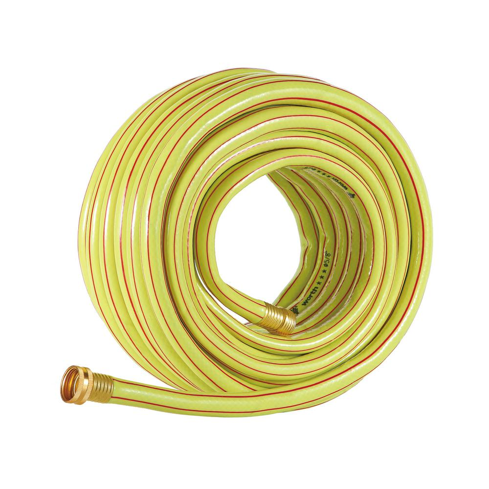 Worth Garden 5/8 in. Dia x 75 ft. 3 Stars Yellow Garden Hose The 5/8 in. x 75 ft. 3 stars yellow hose weights 8 lb. The refreshing yellow base color and red stripes bring out energy. It is flexible and durable. It is a good basic piece to have in your garden.