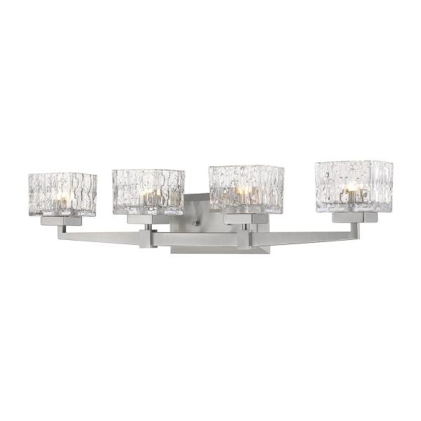 5.25 in. 4-Light Brushed Nickel Vanity Light with Clear Glass Shade