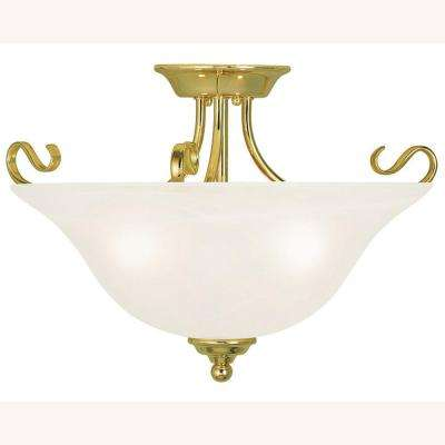 Coronado 3-Light Polished Brass Flushmount