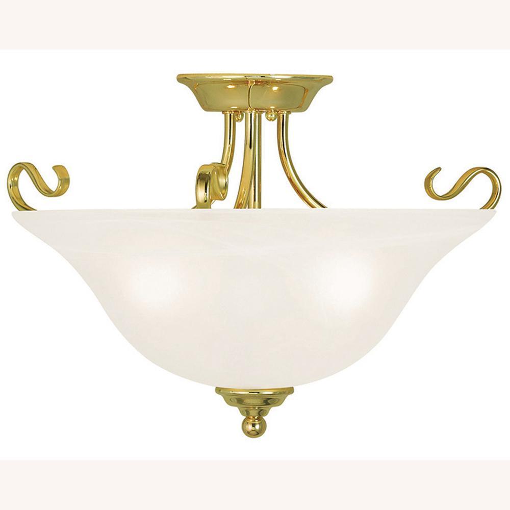 Coronado 3-Light Polished Brass Flushmount