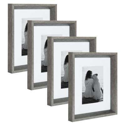 Calter 8 in. x 10 in. Matted to 5 in. x 7 in. Silver Picture Frame (Set of 4)