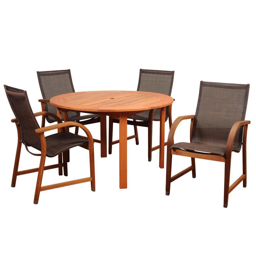 Bahamas 5-Piece Eucalyptus Round Patio Dining Set with Brown Sling Seat