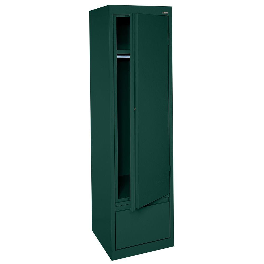 Sandusky System Series 17 in. W x 64 in. H x 18 in. D Single Door Wardrobe Cabinet with File Drawer in Forest Green