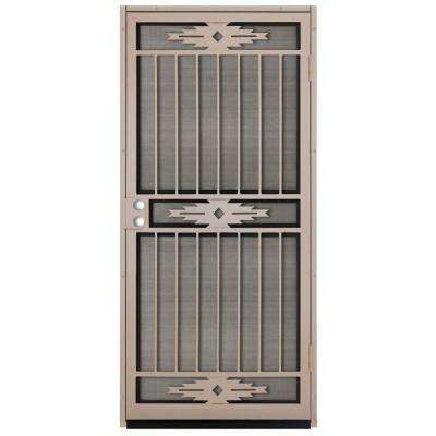 36 in. x 80 in. Pima Tan Surface Mount Outswing Steel Security Door with Insect Screen
