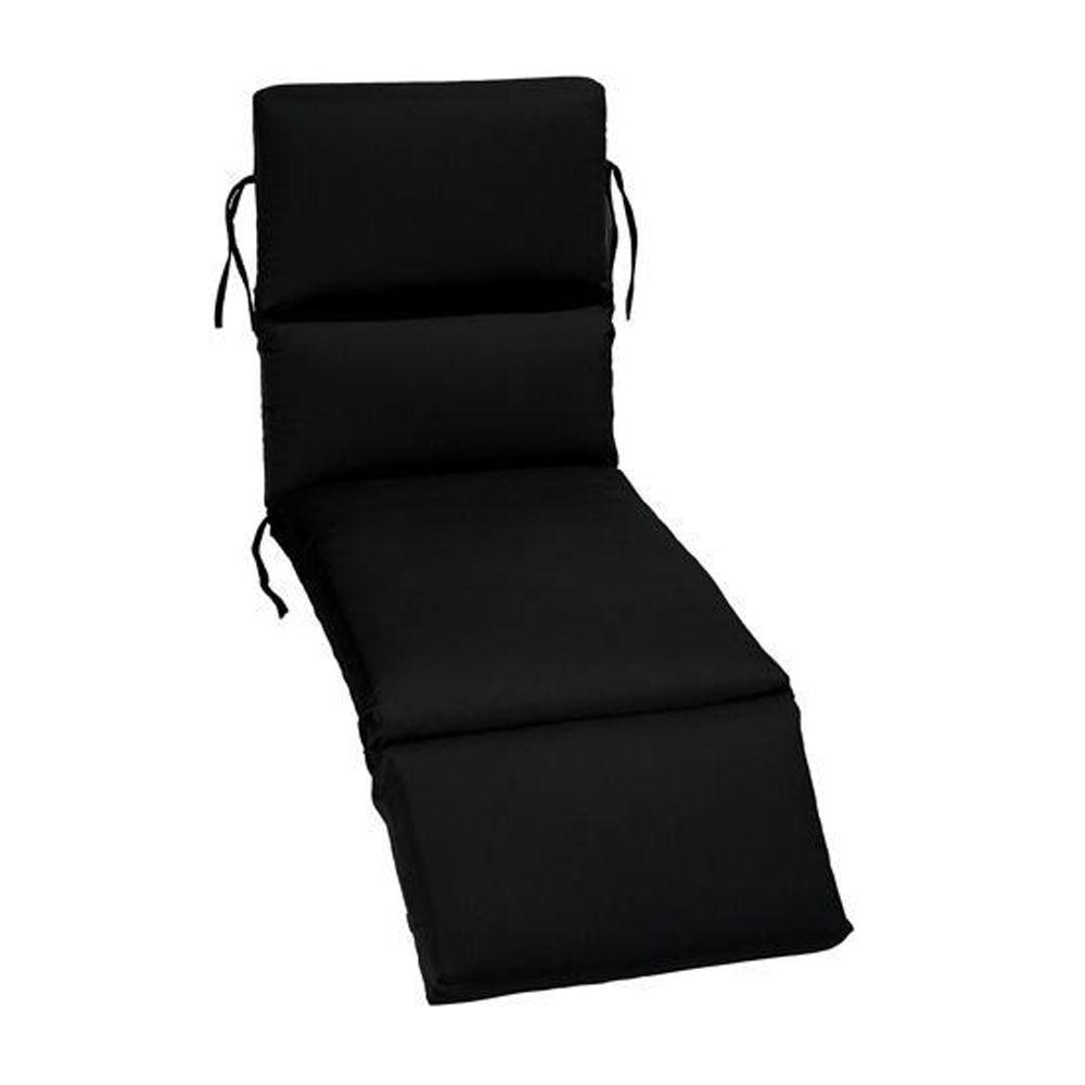 23 x 74 Outdoor Chaise Lounge Cushion in Sunbrella Black